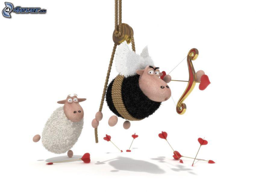 ovejas, corazones, flecha, Cupido
