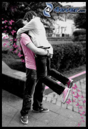 abrazo alegre, pareja, amor