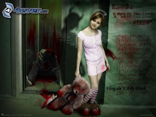asesinato, niña con un oso peluche, ascensor