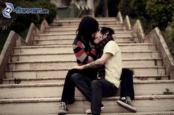 beso, escalera, amor, emo