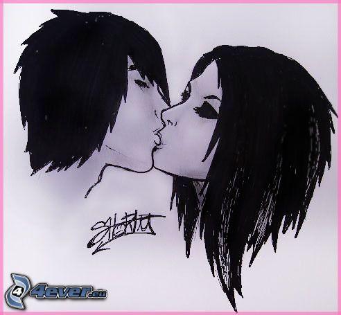 beso cómico, amor, dibujos animados de pareja