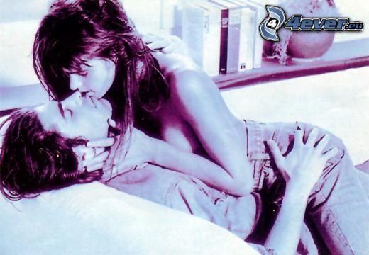 beso emocionante, atracción, desnudez, amor