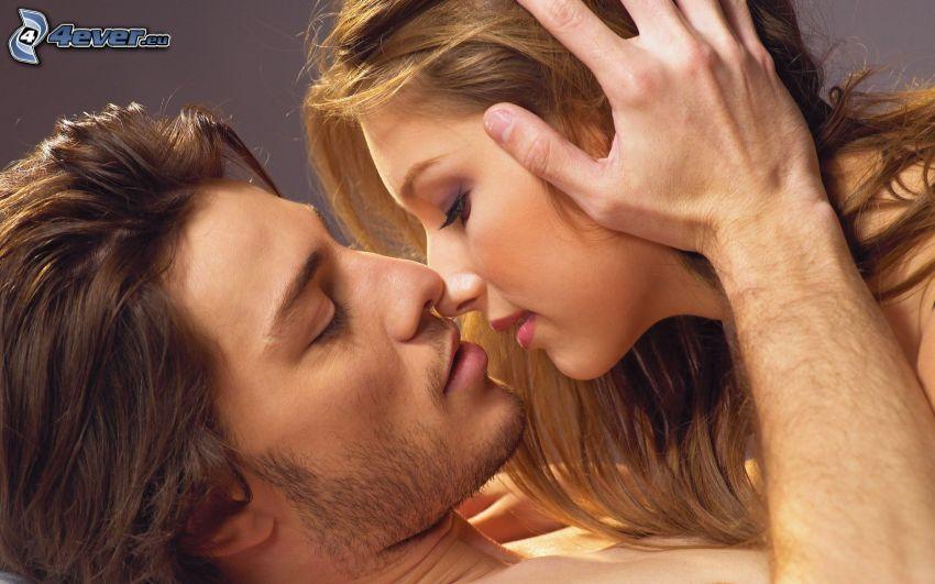 beso romántico, pareja, beso suave