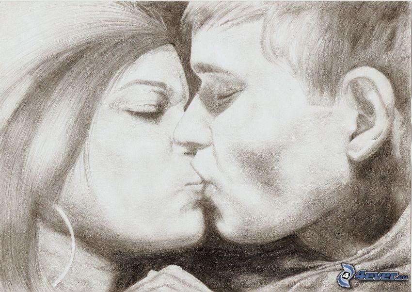 dibujos animados de pareja, beso