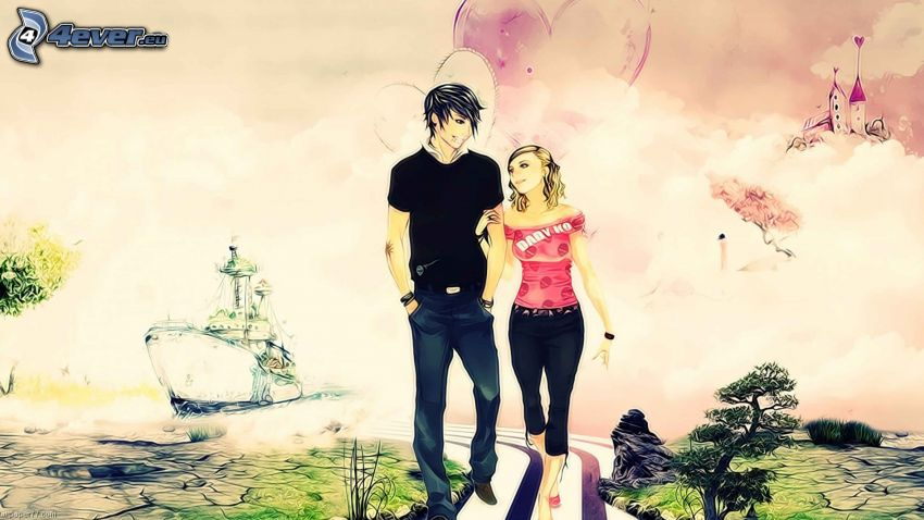 dibujos animados de pareja, castillo, nave