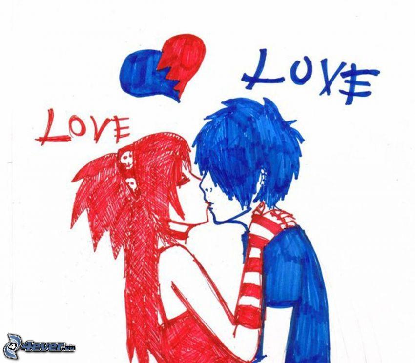 emo amor, dibujos animados de pareja, corazón, love
