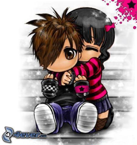 emo pareja, abrazar, amor, dibujos animados