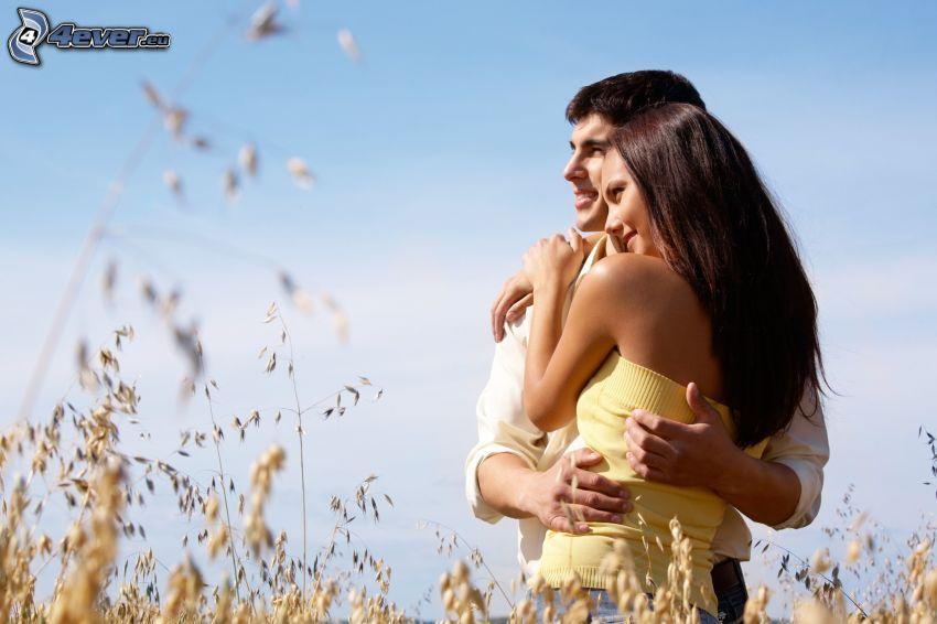 hombre y mujer, pareja, hierba seca