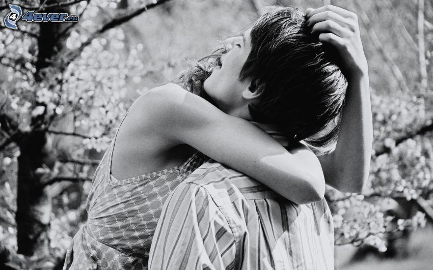 pareja, abrazar, Foto en blanco y negro