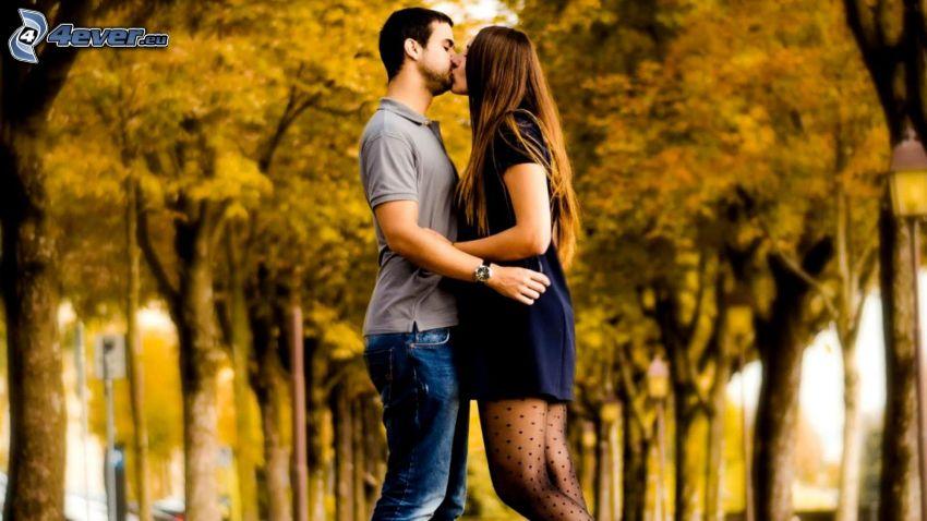 pareja, beso, arboleda