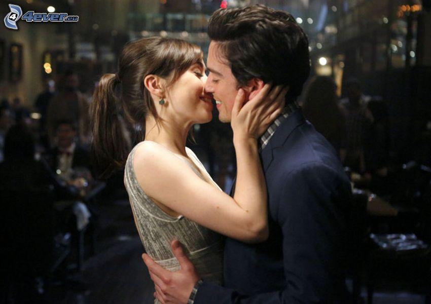 pareja, beso, club