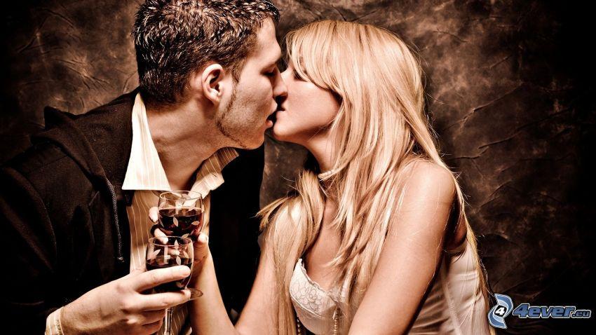 pareja, beso, romántica, vino