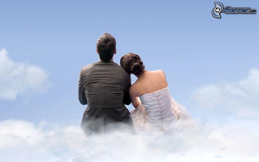 pareja, nubes