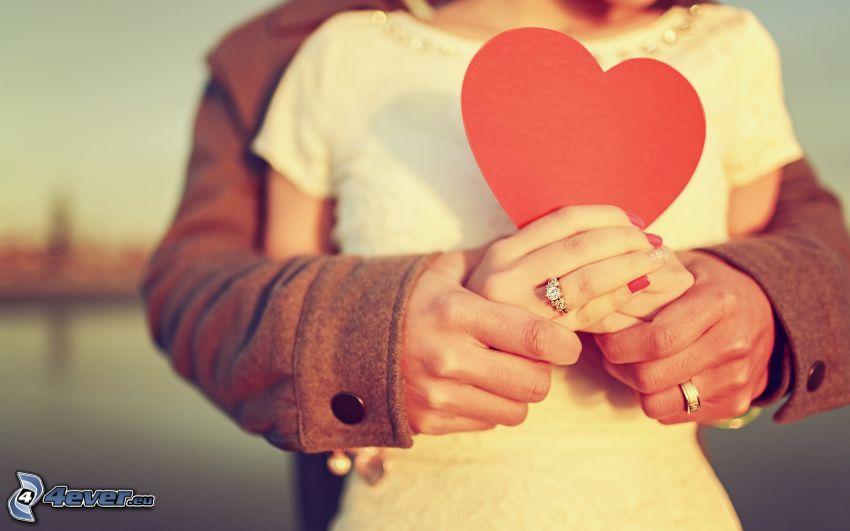 pareja, tomar manos, corazón, anillos