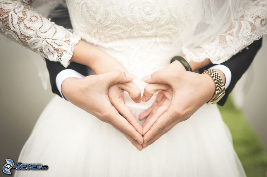 pareja de novios, tomar manos, corazón de las manos