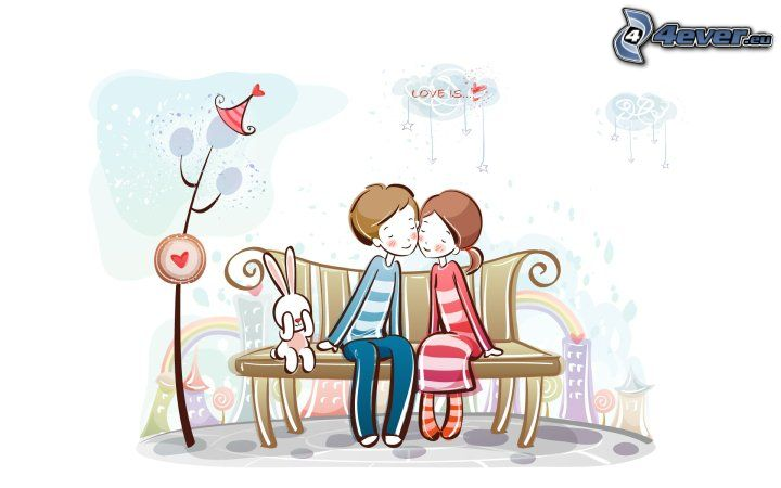 pareja en el banco, conejito, dibujos animados