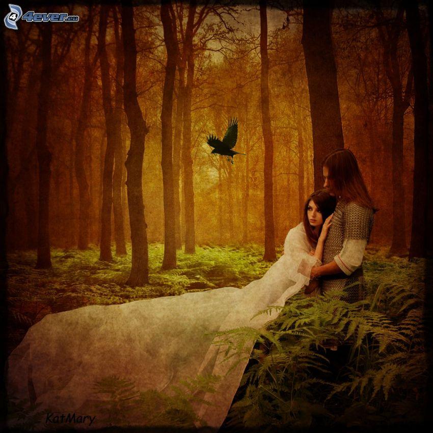 pareja en el bosque