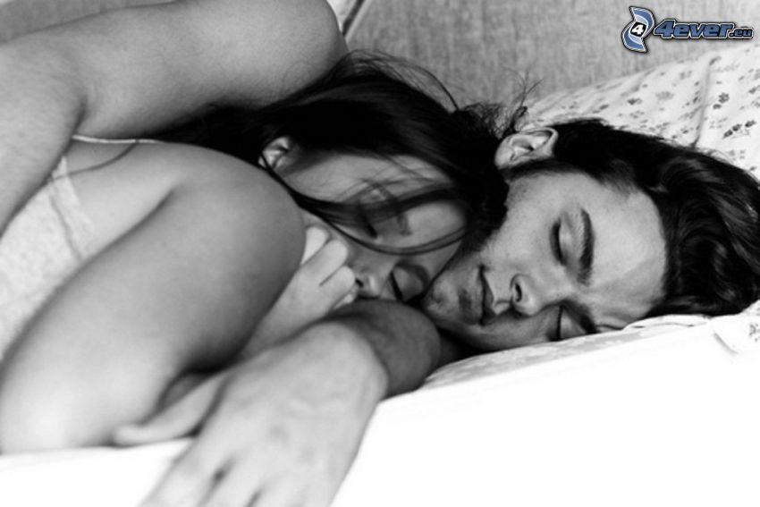 pareja en la cama, dormir