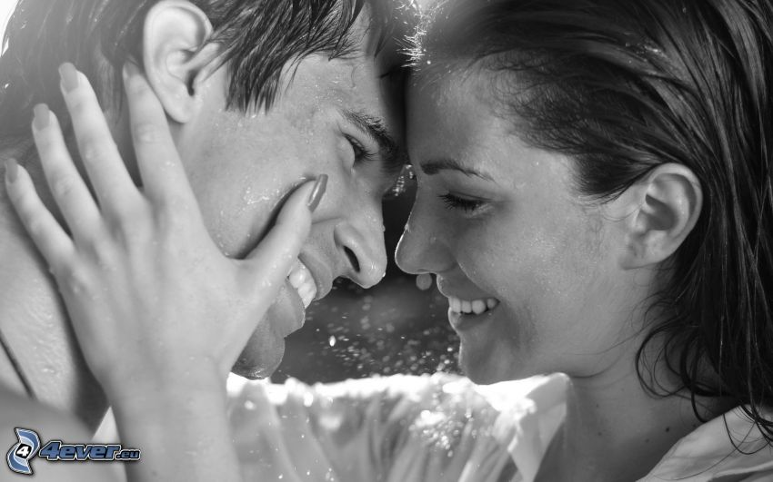 pareja feliz, risa