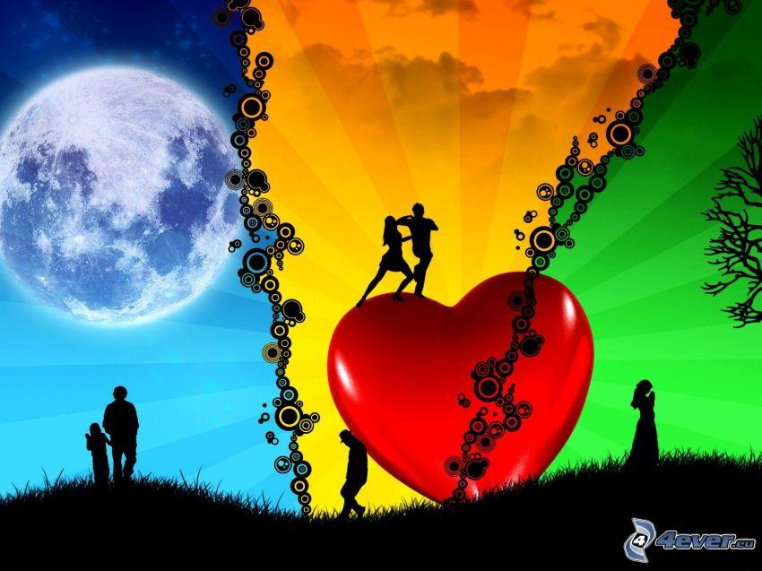 parejas, corazón, Luna