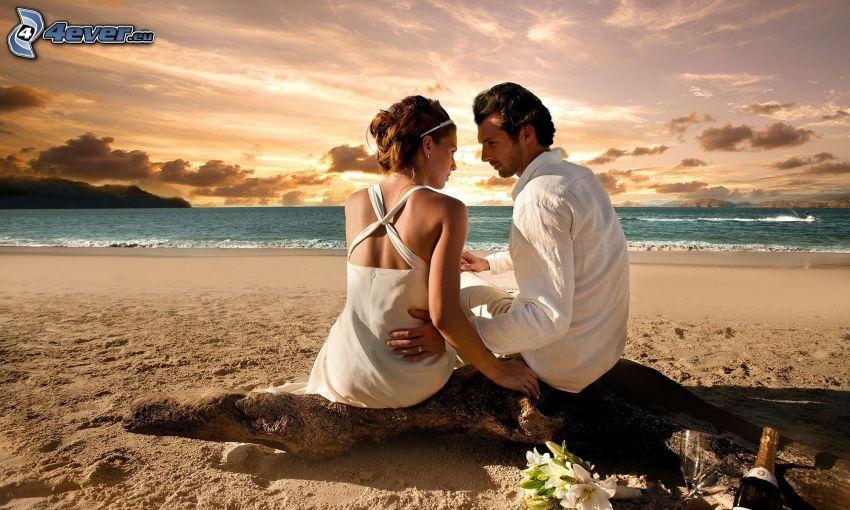 recién casados, pareja en la playa, mar, ramo de la boda
