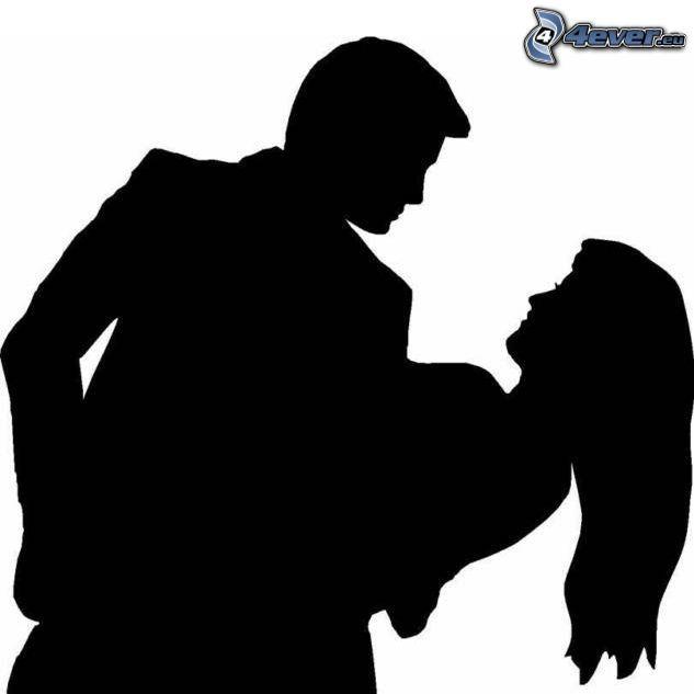 silueta de una pareja, Bailarines