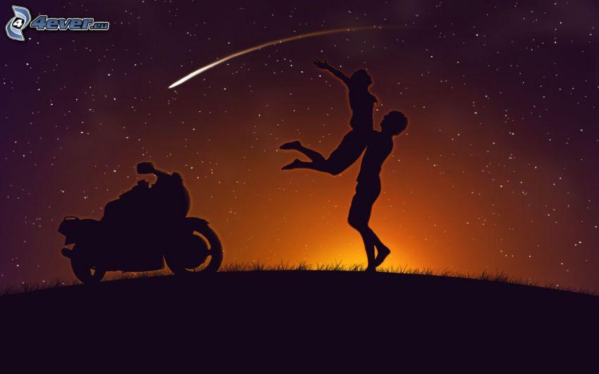 silueta de una pareja, motocicleta