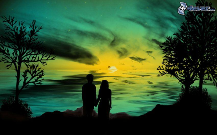 silueta de una pareja, puesta de sol en el mar, dibujos animados