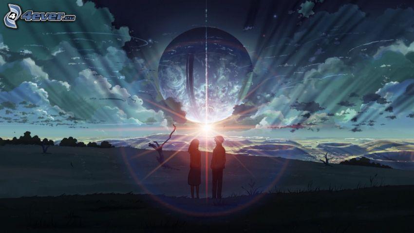 silueta de una pareja, sol, luz intensa, Planeta Tierra
