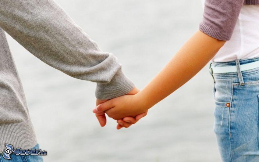 tomar manos, pareja