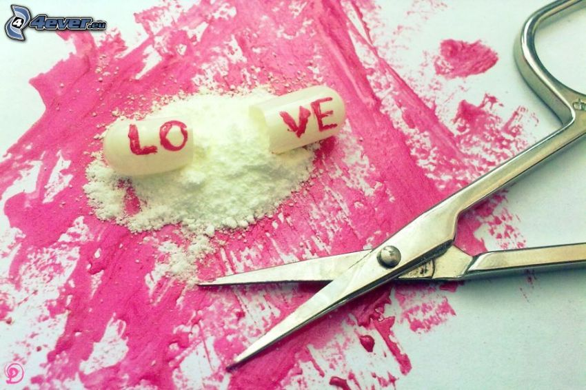 píldora, love, tijeras