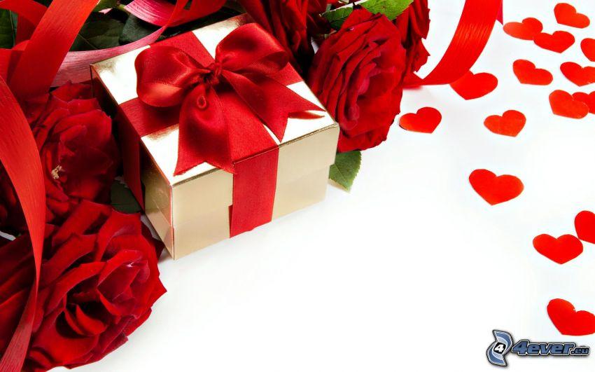 regalo, rosas rojas, corazones rojos
