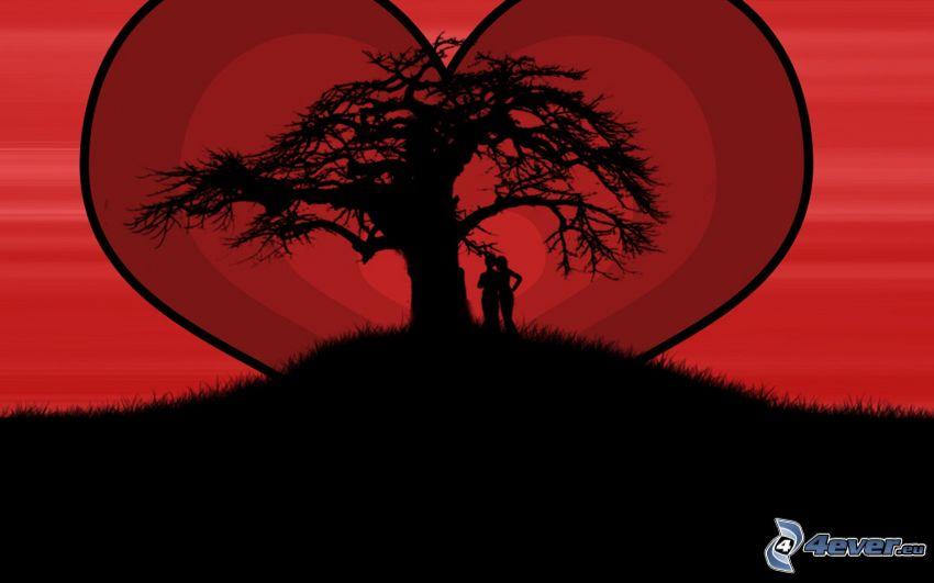 silueta de una pareja, corazón, silueta de un árbol
