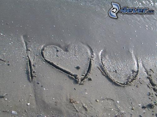 Te quiero, playa, arena, amor