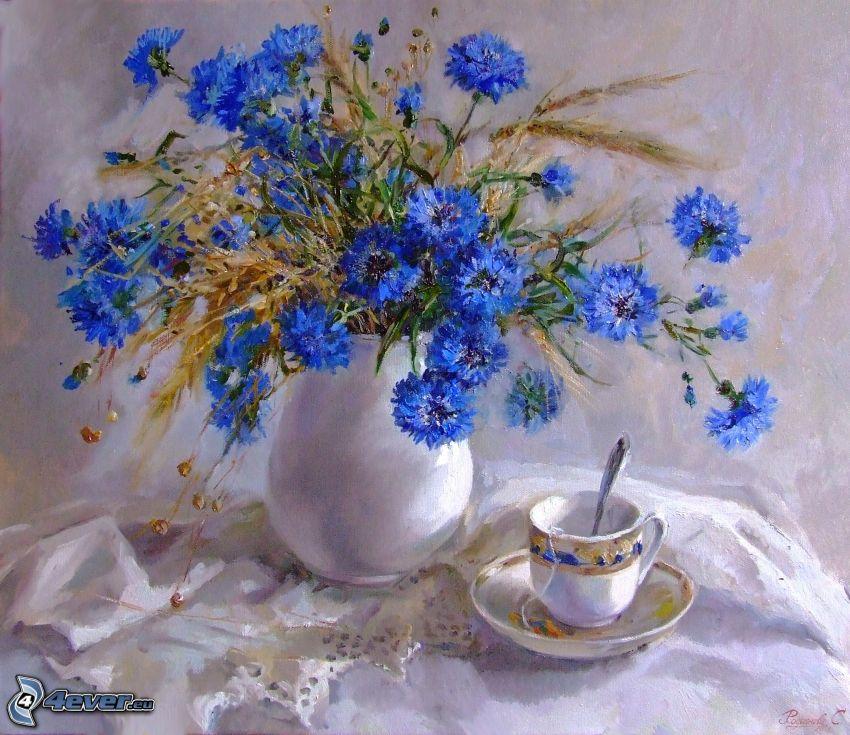 aciano, flores en un florero, taza