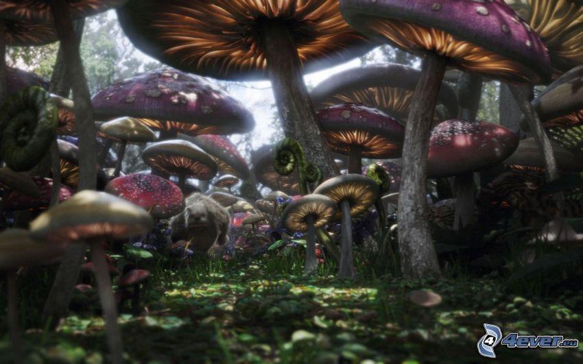 Alicia en el País de las Maravillas, hongos