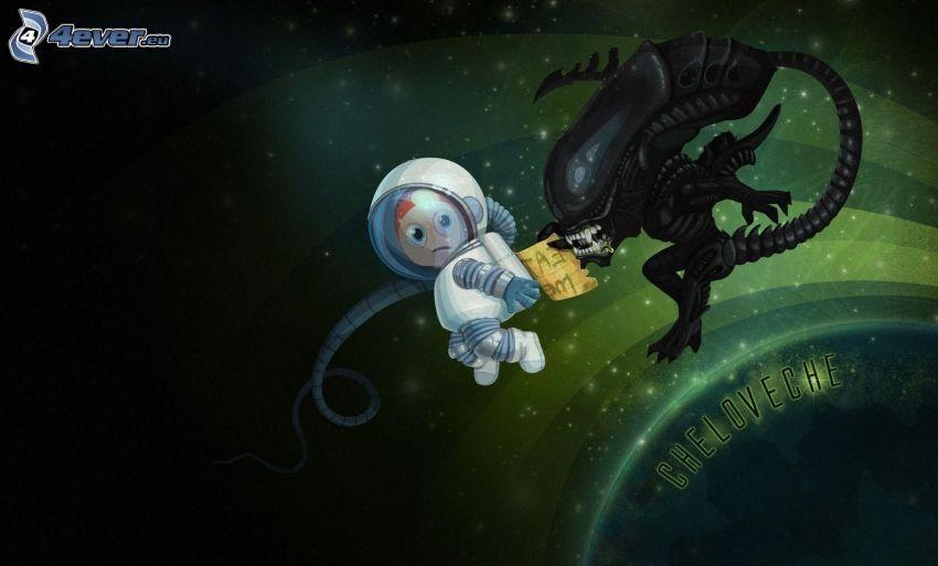 Aliens, Personaje de dibujos animados, astronauta