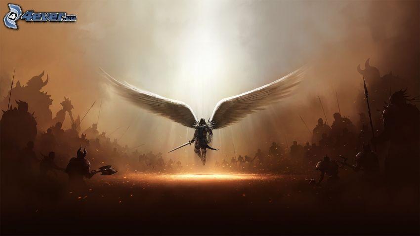 ángel, guerrero, soldados