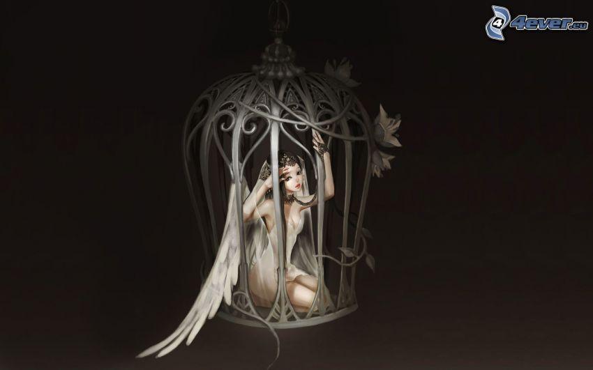 ángel, jaula