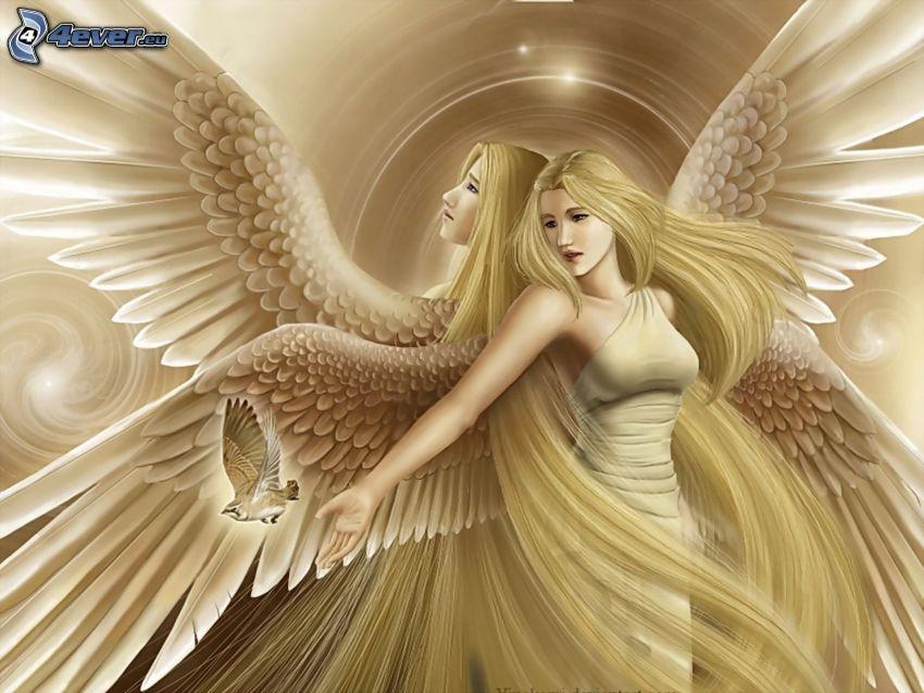 ángeles, pelo largo