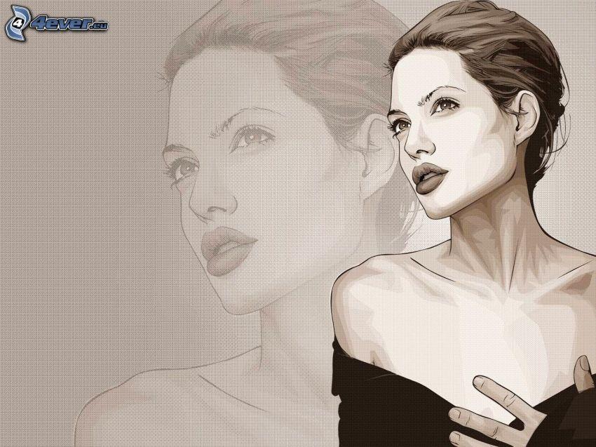 Angelina Jolie, caricatura de mujer