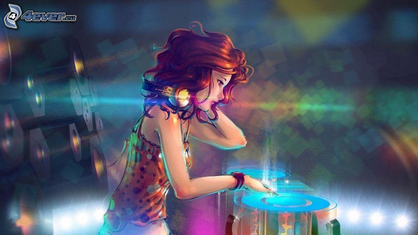caricatura de mujer, pelirroja, DJ