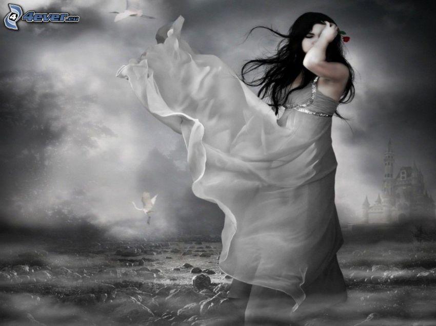 caricatura de mujer, vestido blanco, velo, castillo