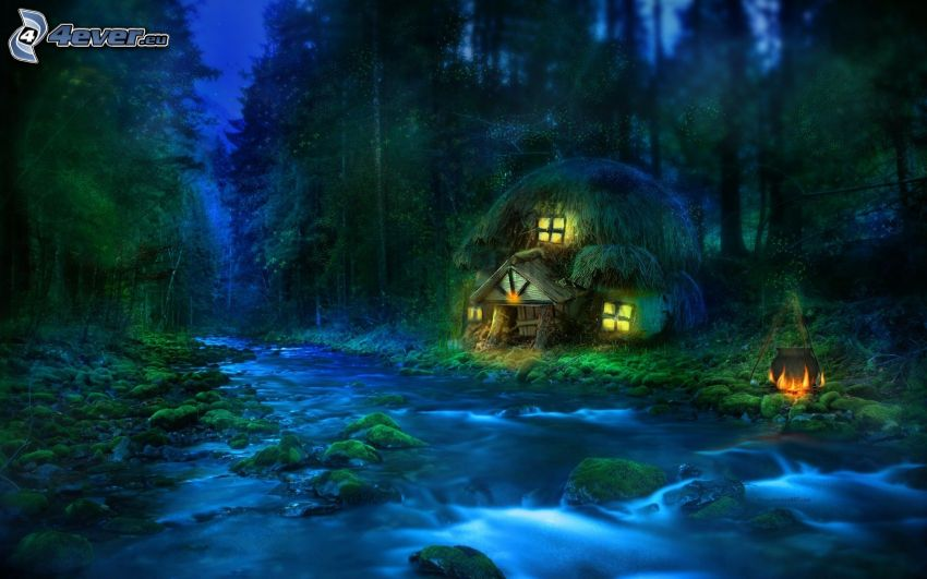 casa de campo, bosque, río, noche