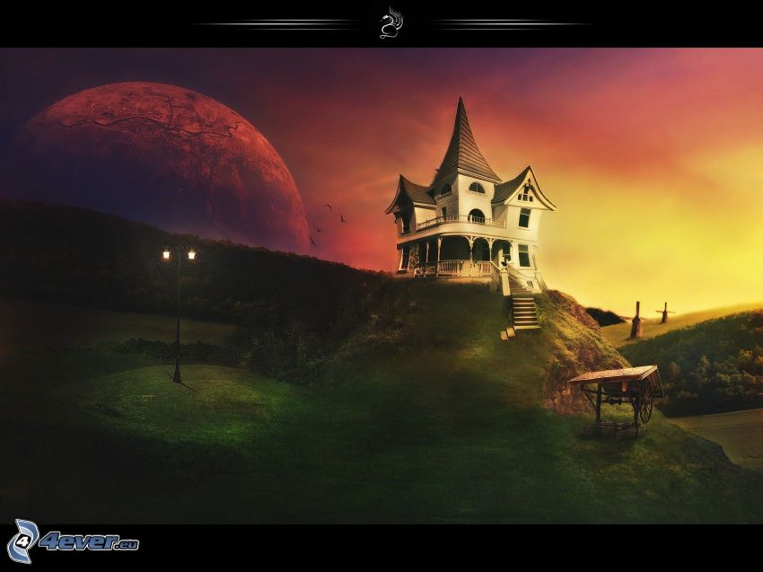casa en la colina, puesta del sol, planeta
