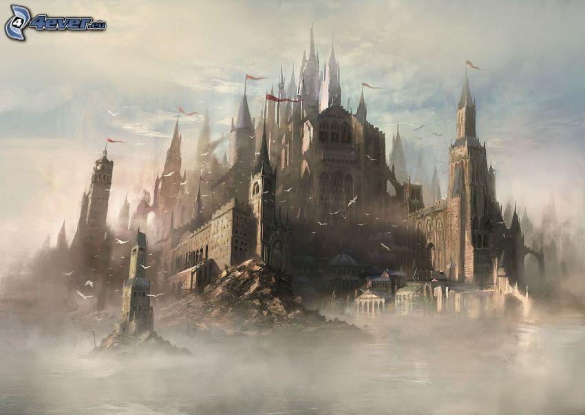 castillo fantástico, niebla