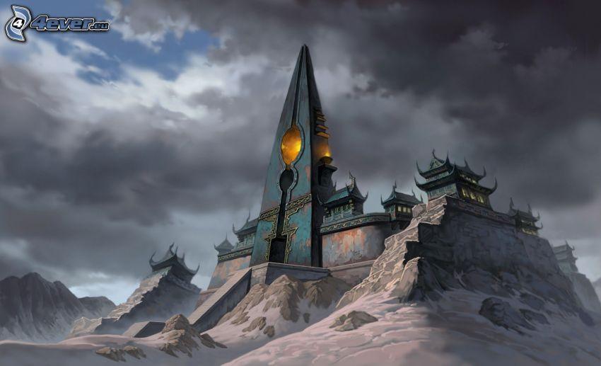 castillo fantástico, nubes, nieve