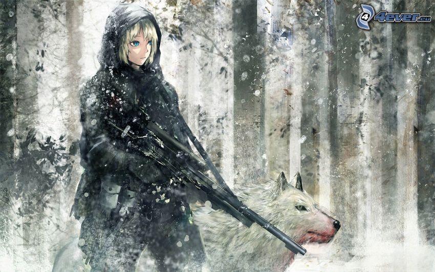chica anime, arma, lobo negro, nieve, bosque