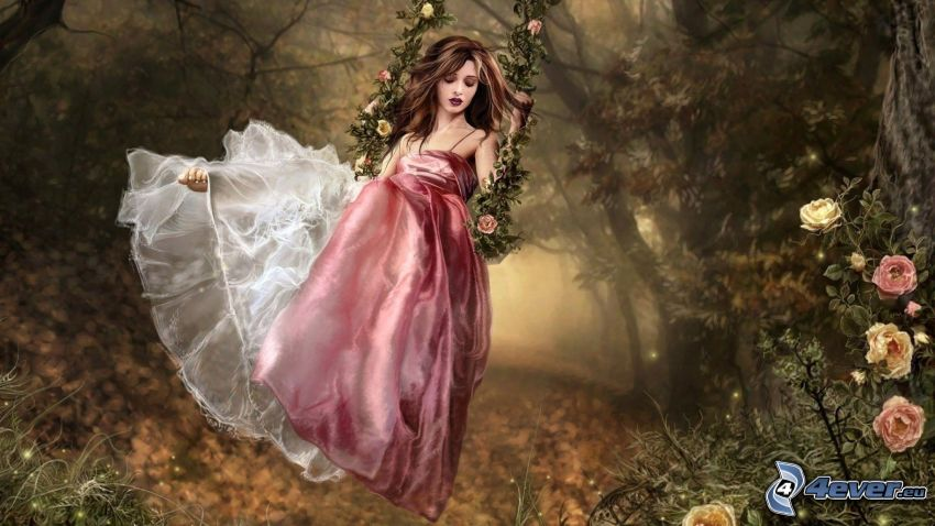 chica anime, bosque, vestido de color rosa, rosas, columpio