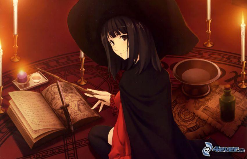 chica anime, bruja, libro antiguo, velas